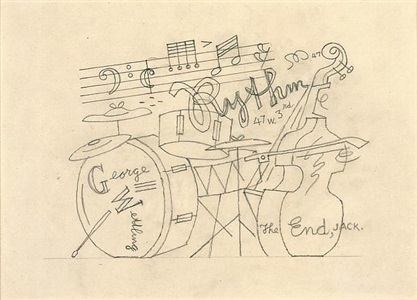 "sketchbook 23-4 [study for ""rhythm - george wettling""] by stuart davis"